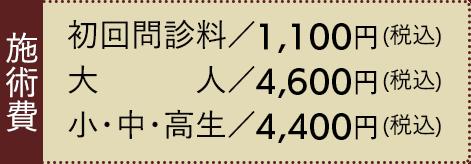 初回問診料 1,000円(税込)、大人 4,200円(税込)、小・中・高生 3,700円(税込)